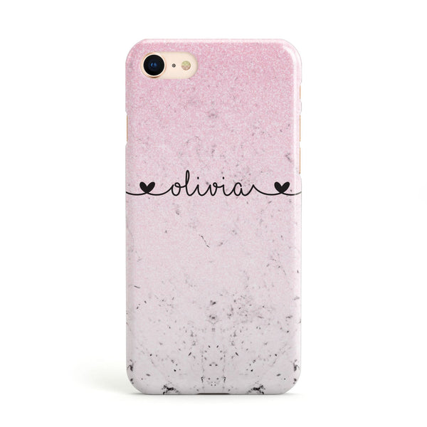 8a4d7cce087 Personalised Faux Glitter Marble Name Apple iPhone Case