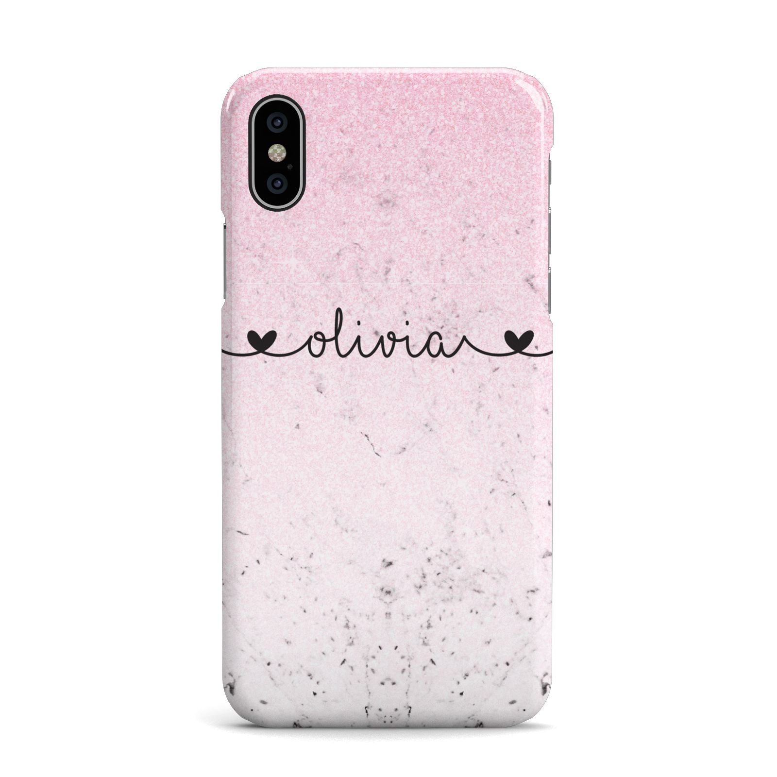 Personalised Faux Glitter Marble Name Apple iPhone X Case