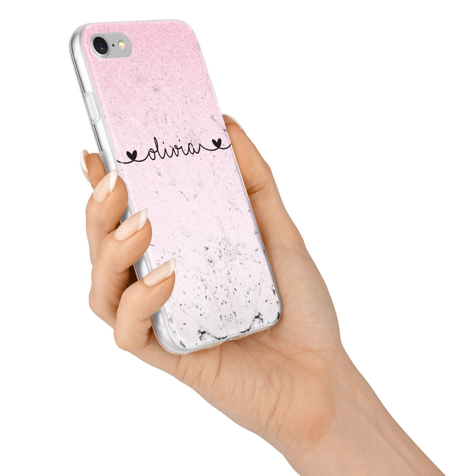 Personalised Faux Glitter Marble Name iPhone 7 Bumper Case on Silver iPhone Alternative Image