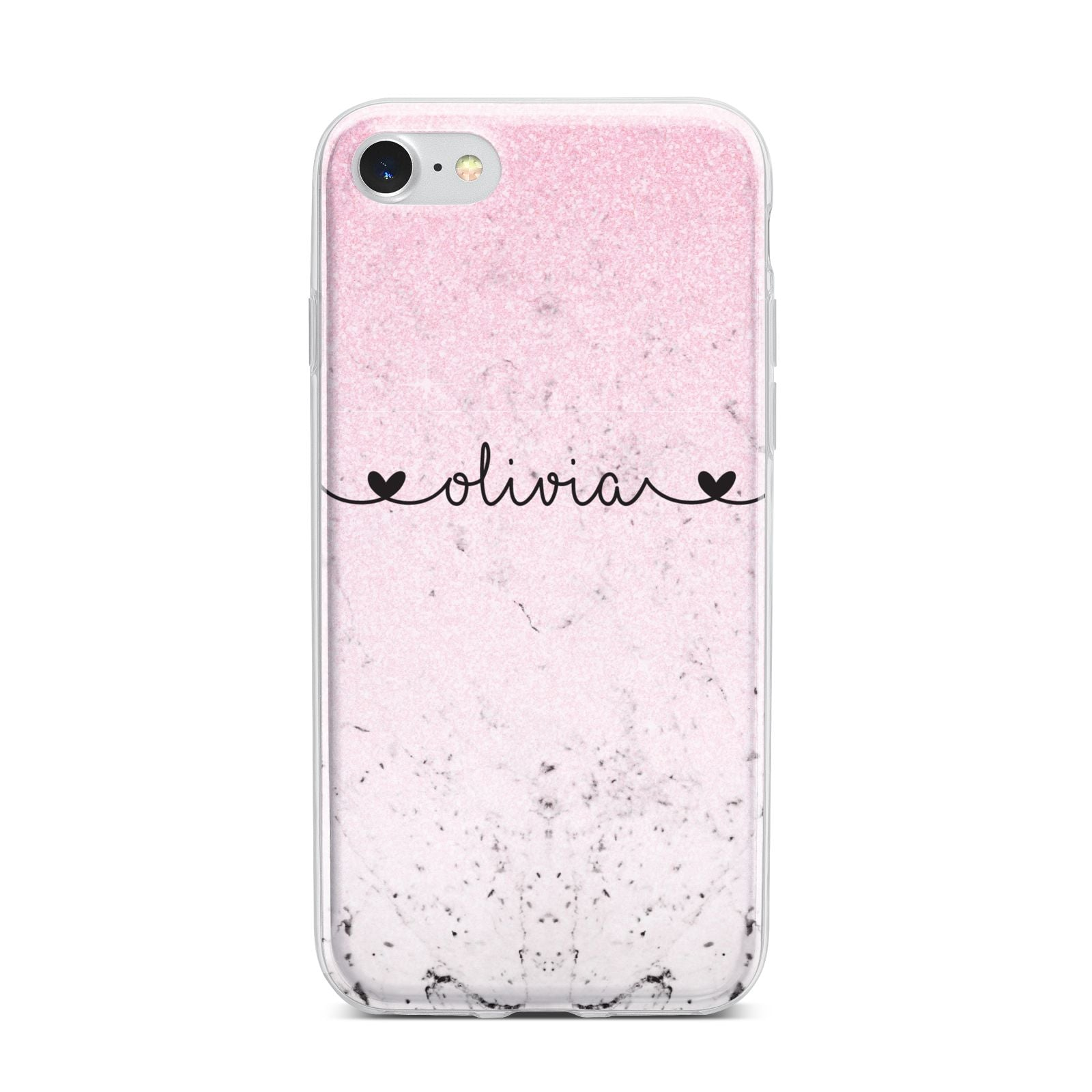 Personalised Faux Glitter Marble Name iPhone 7 Bumper Case on Silver iPhone