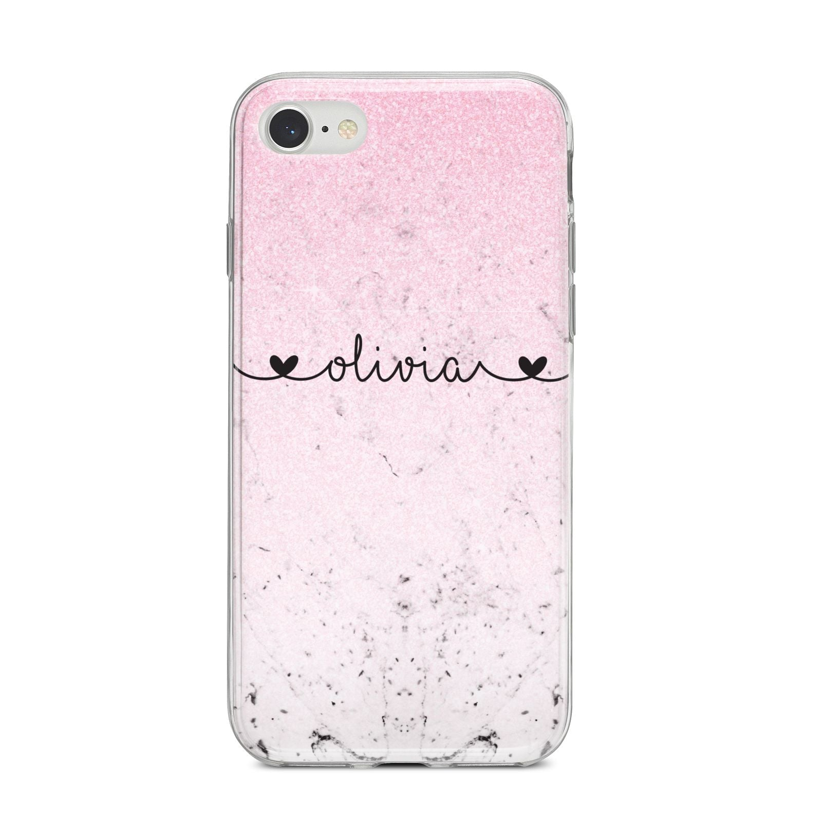 Personalised Faux Glitter Marble Name iPhone 8 Bumper Case on Silver iPhone