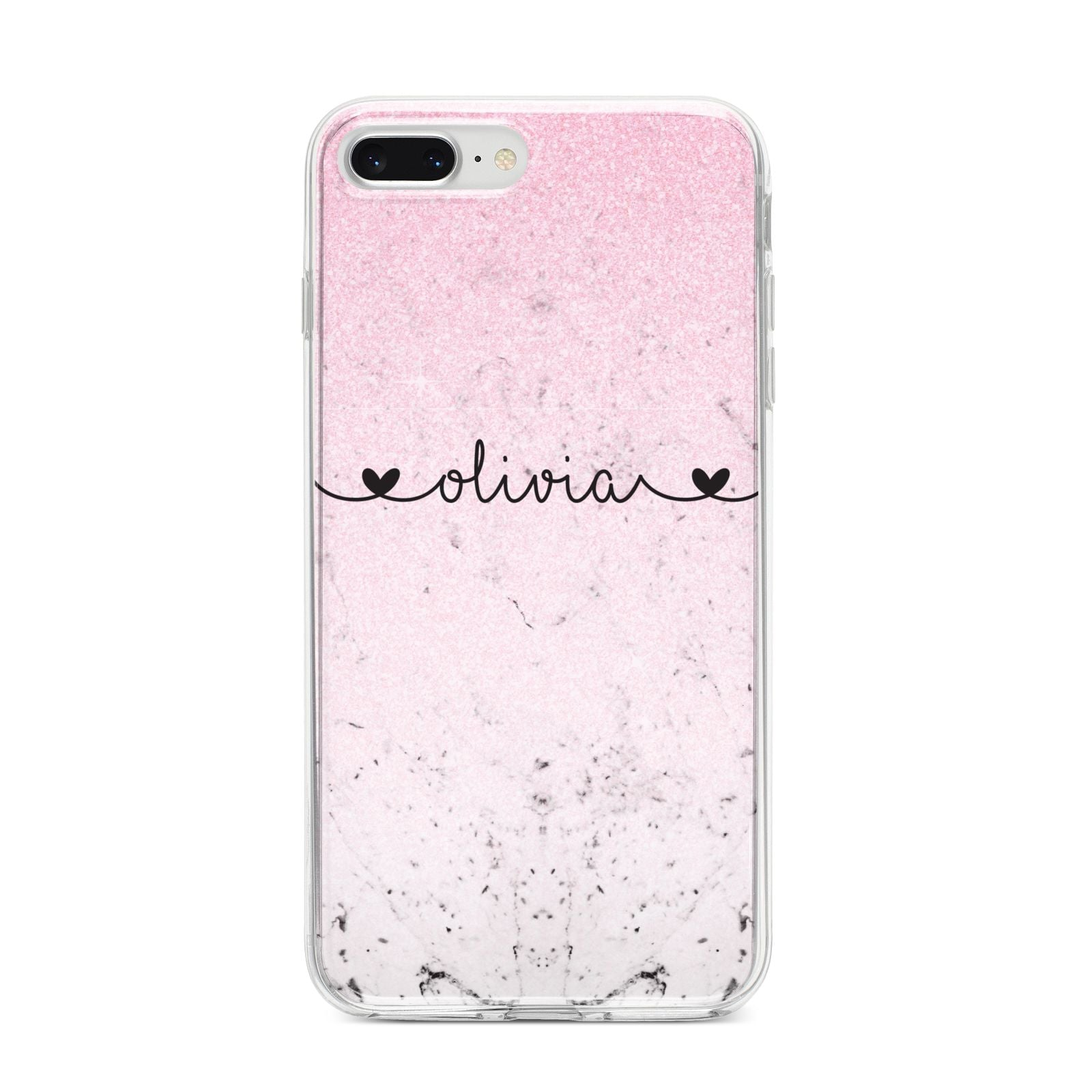 Personalised Faux Glitter Marble Name iPhone 8 Plus Bumper Case on Silver iPhone