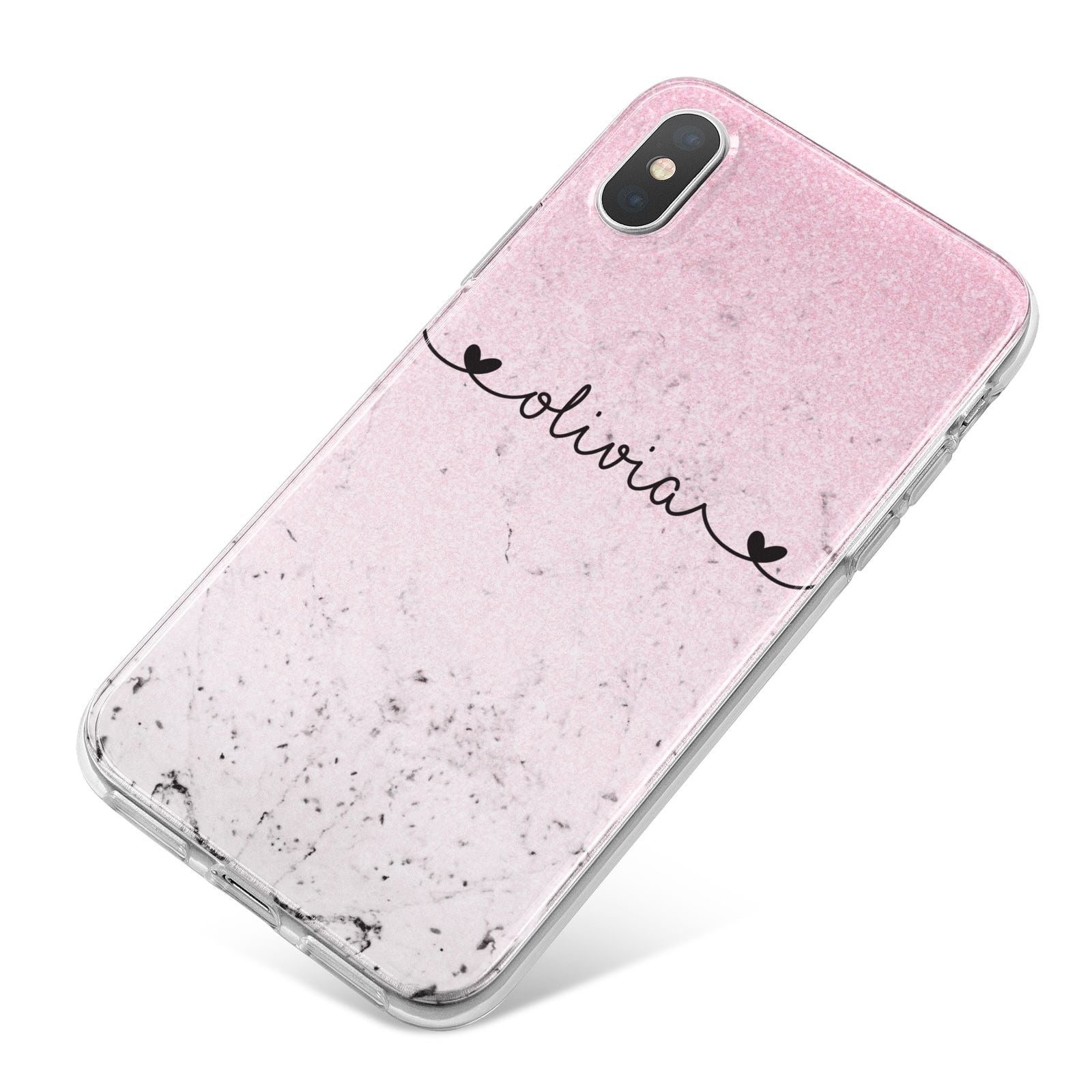 Personalised Faux Glitter Marble Name iPhone X Bumper Case on Silver iPhone