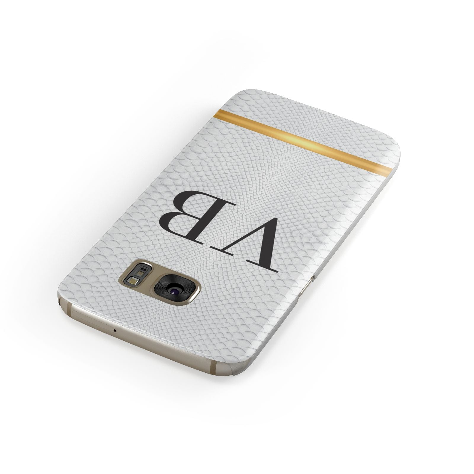 Personalised Faux Snakeskin Initials Samsung Galaxy Case Front Close Up