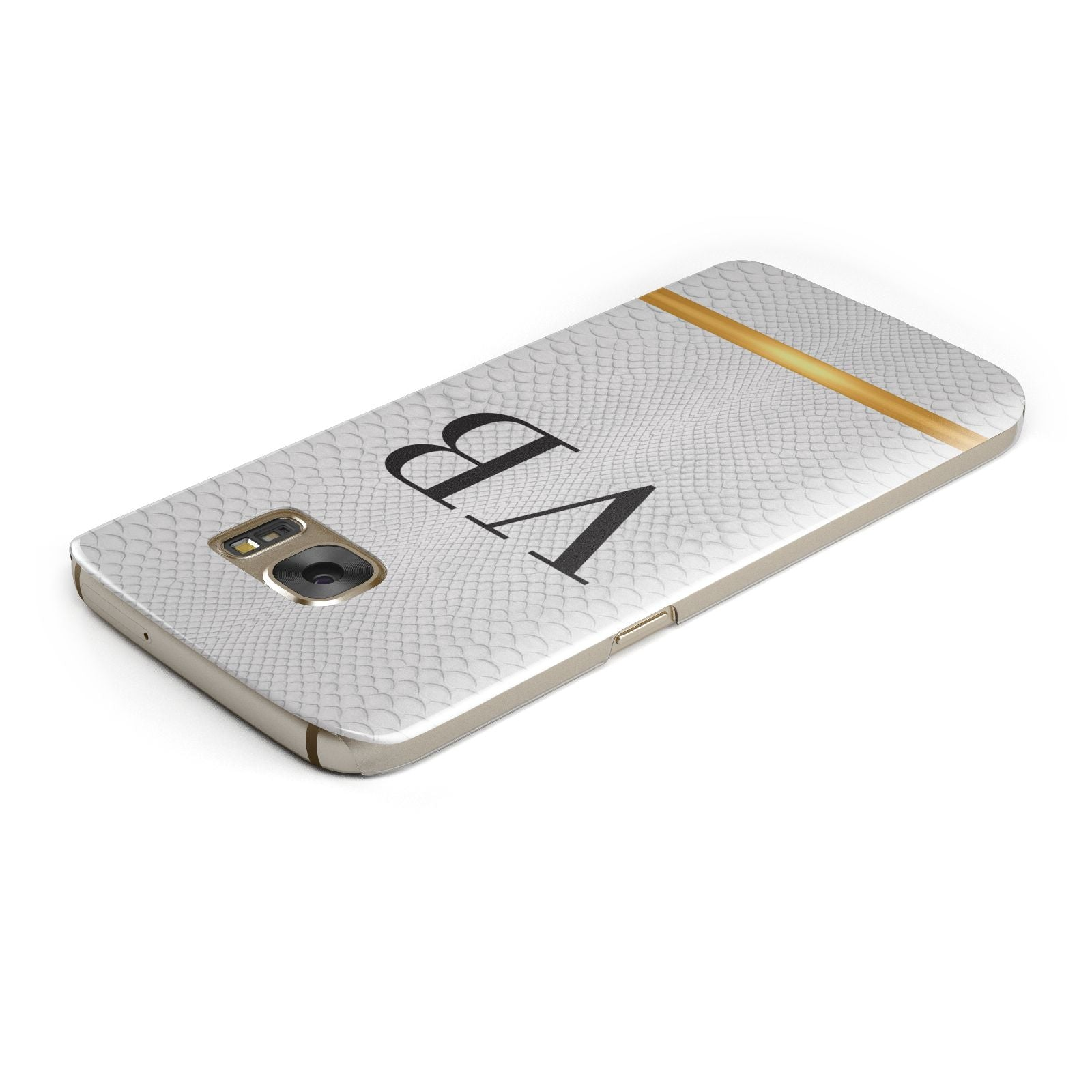 Personalised Faux Snakeskin Initials Samsung Galaxy Case Top Cutout