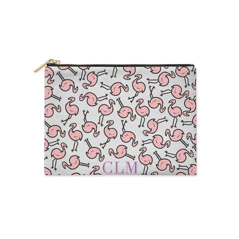 Personalised Flamingo Initials Clear Clutch Bag