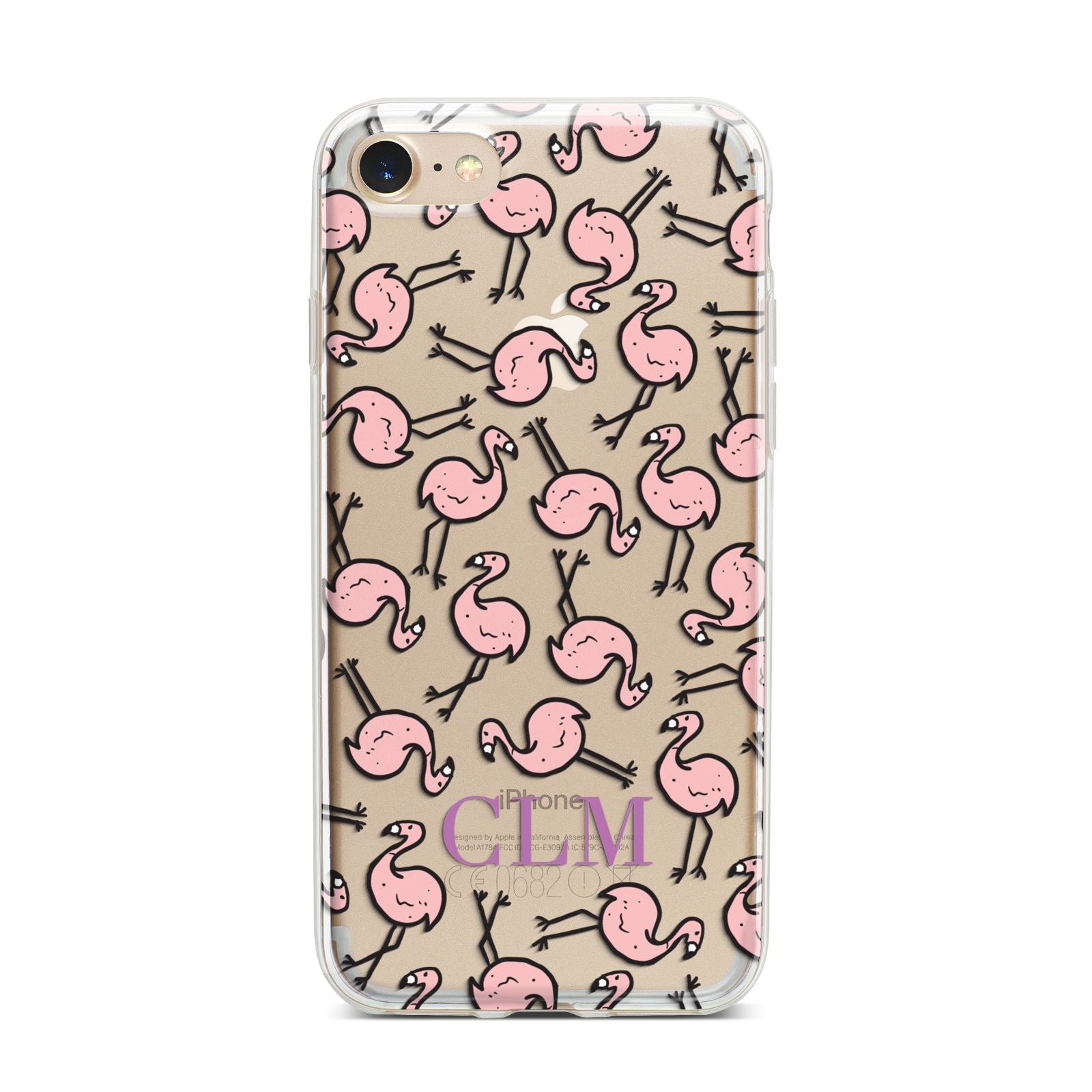 Personalised Flamingo Initials Clear iPhone 7 Bumper Case on Gold iPhone