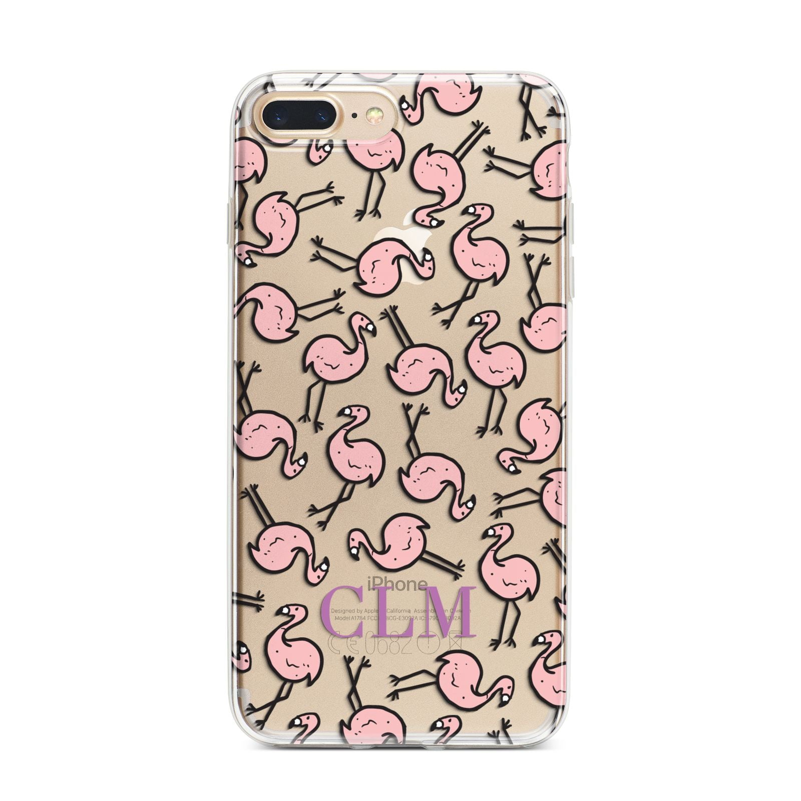 Personalised Flamingo Initials Clear iPhone 7 Plus Bumper Case on Gold iPhone