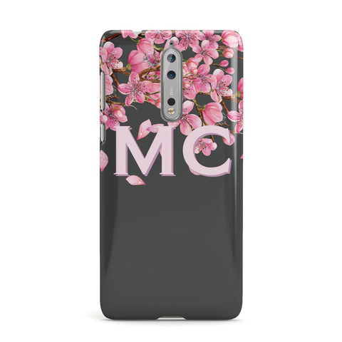 Personalised Floral Blossom Black & Pink Nokia Case
