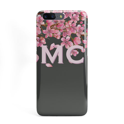 Personalised Floral Blossom Black & Pink OnePlus Case