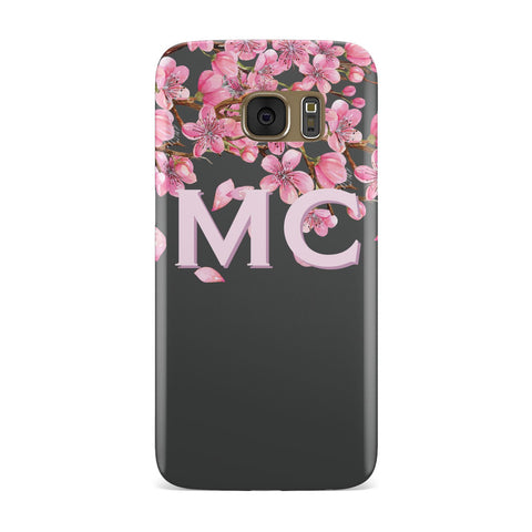 Personalised Floral Blossom Black & Pink Samsung Galaxy Case
