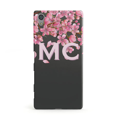 Personalised Floral Blossom Black & Pink Sony Case