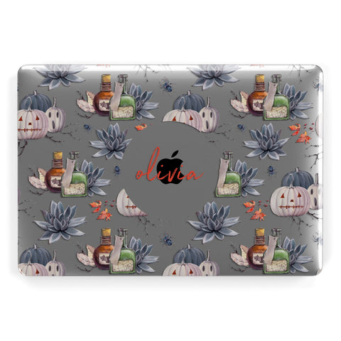Personalised Floral Name Halloween Apple Macbook Case