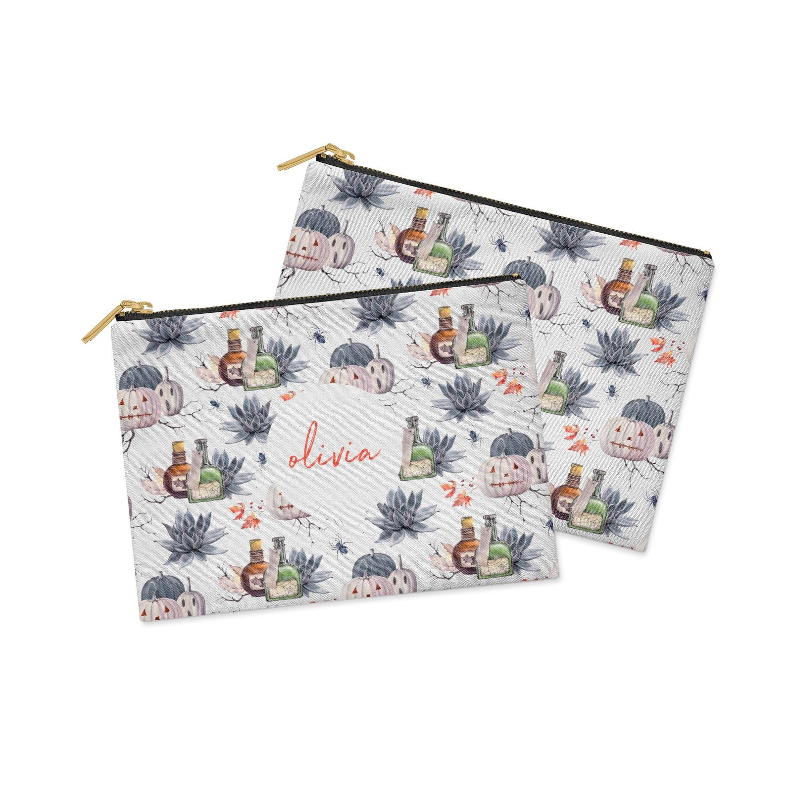Personalised Floral Name Halloween Clutch Bag Zipper Pouch Alternative View