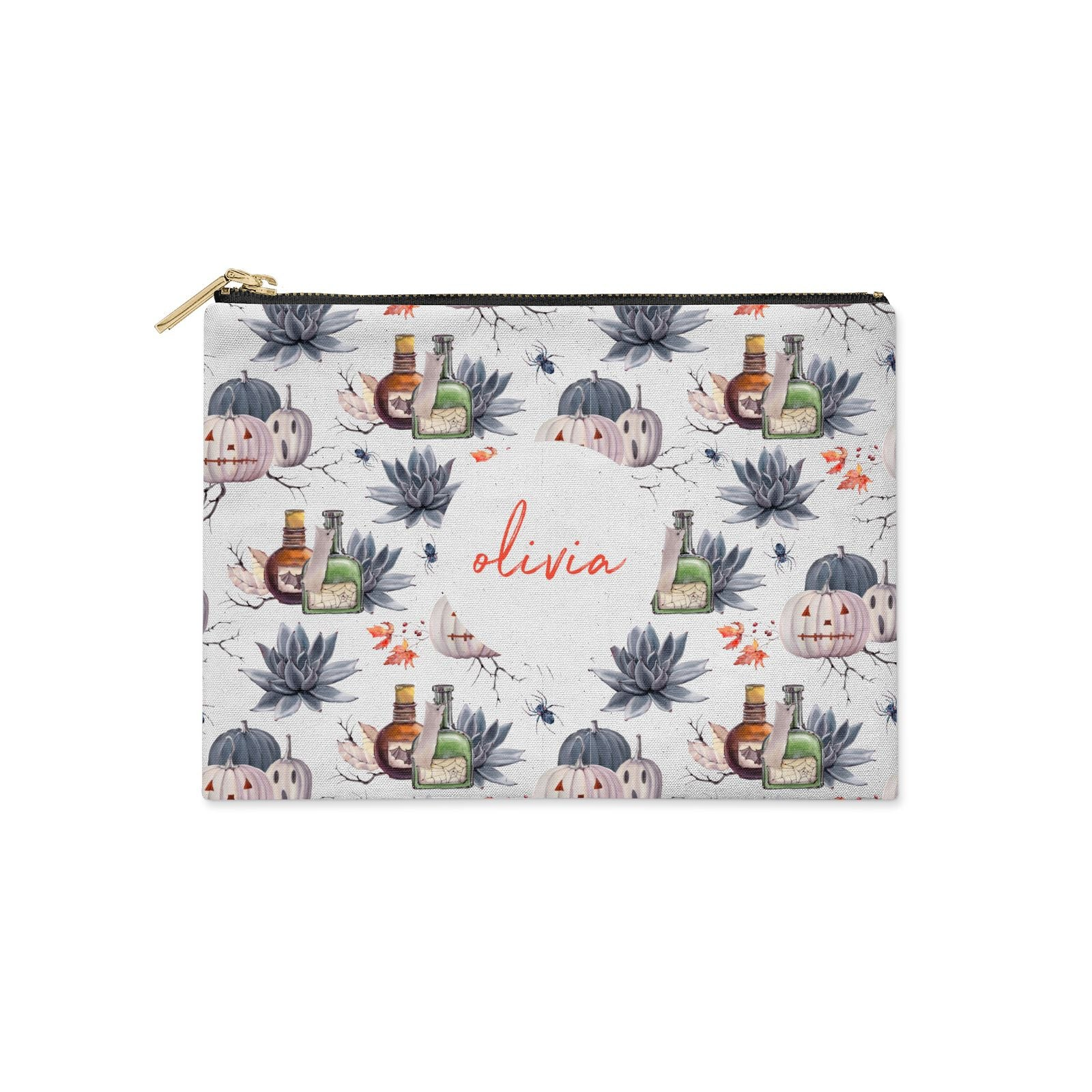 Personalised Floral Name Halloween Clutch Bag Zipper Pouch