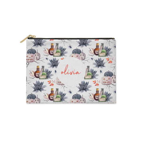 Personalised Floral Name Halloween Clutch Bag