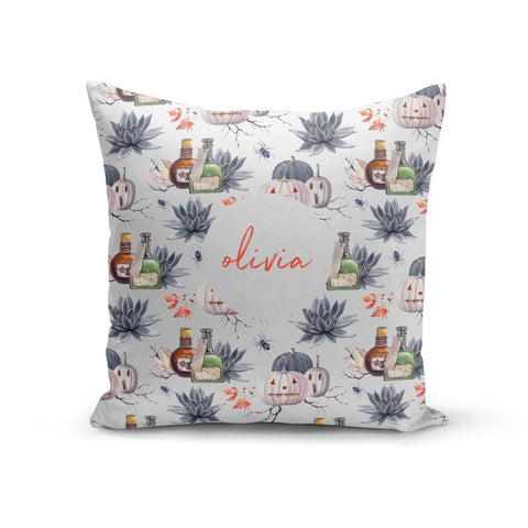 Personalised Floral Name Halloween Cushion