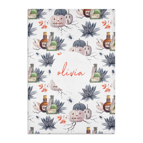 Personalised Floral Name Halloween Tea Towel