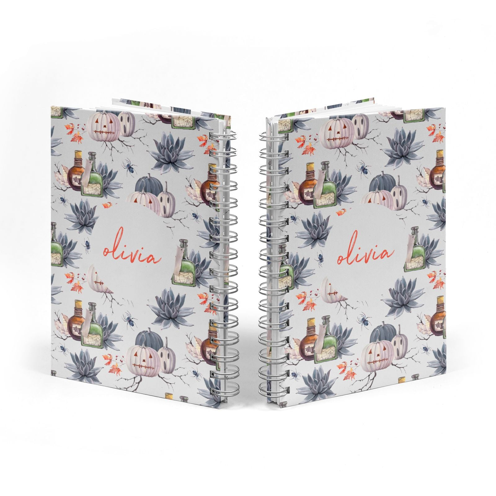 Personalised Floral Name Halloween Notebook with Silver Coil Spine View