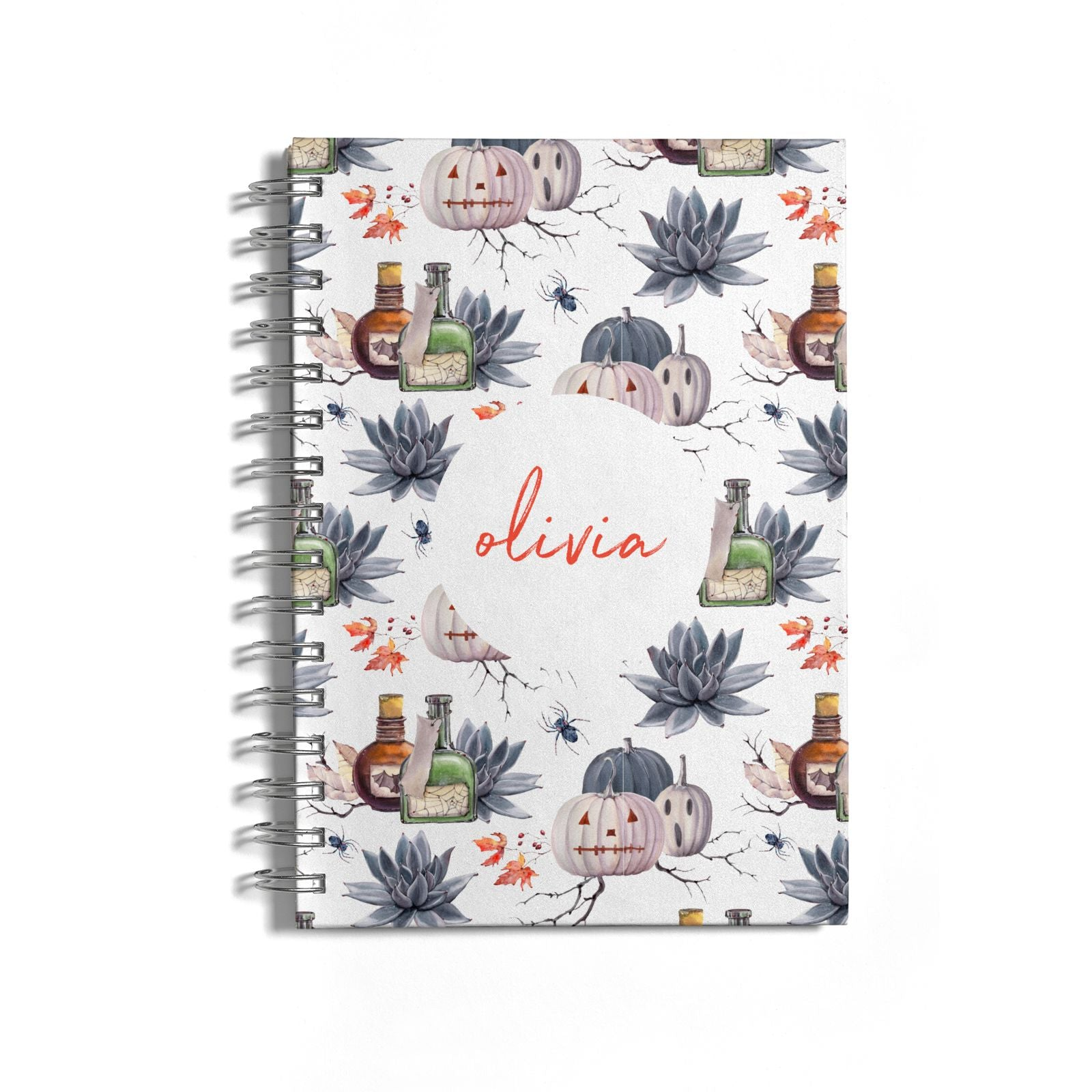 Personalised Floral Name Halloween Notebook with Silver Coil