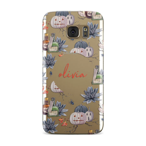 Personalised Floral Name Halloween Samsung Galaxy Case