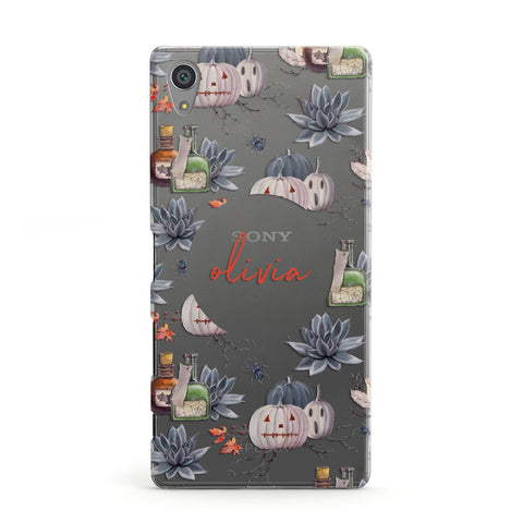 Personalised Floral Name Halloween Sony Case