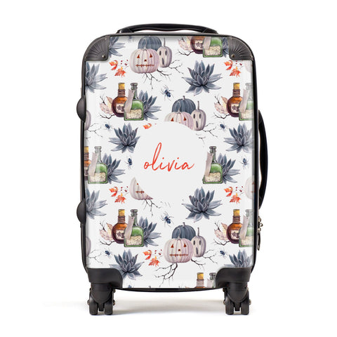 Personalised Floral Name Halloween Suitcase