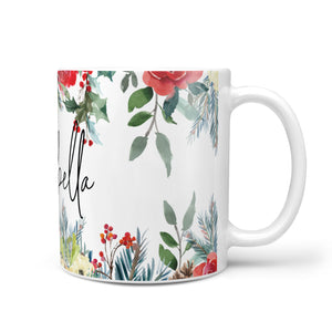 Personalised Floral Winter Arrangement 10oz Mug