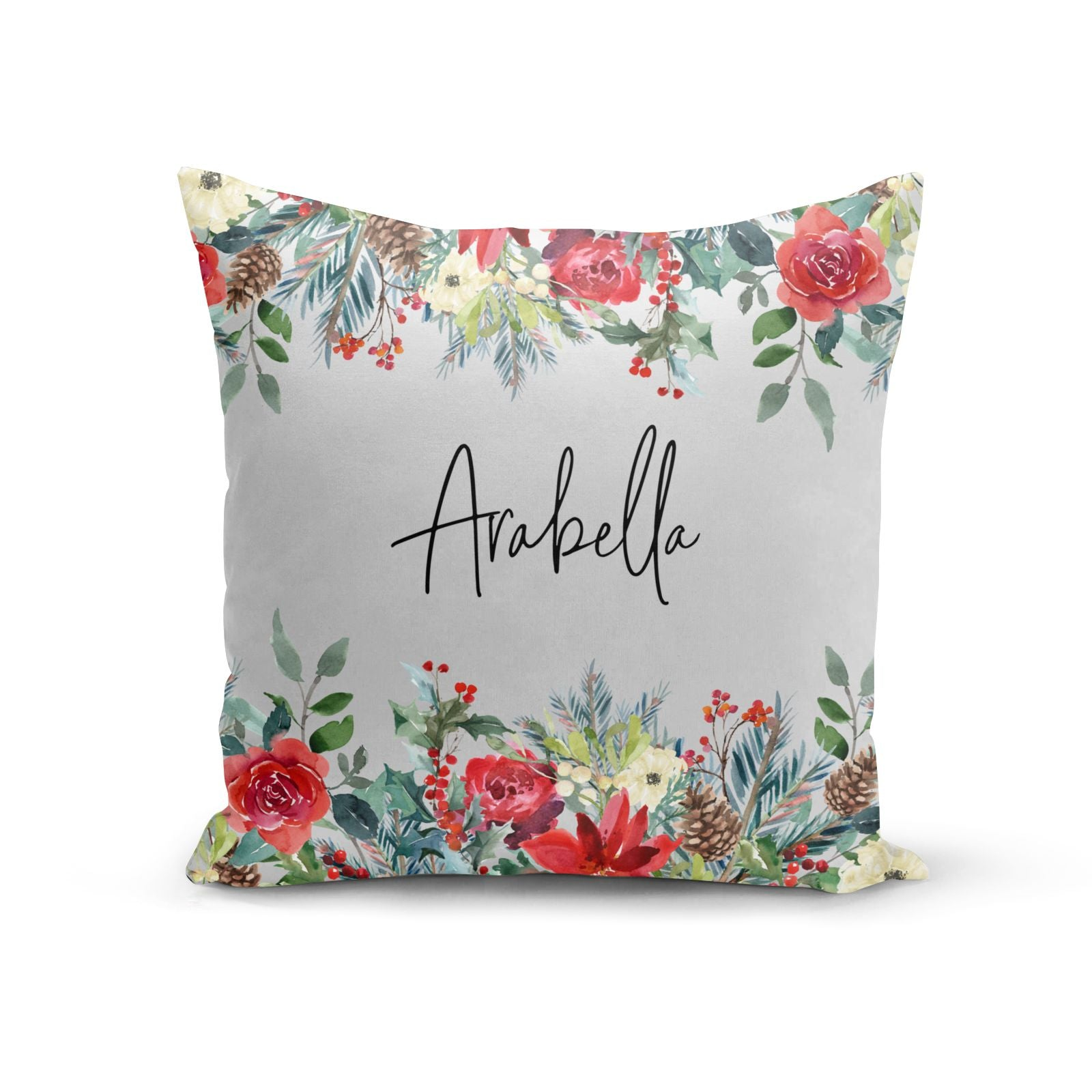 Personalised Floral Winter Arrangement Cotton Cushion