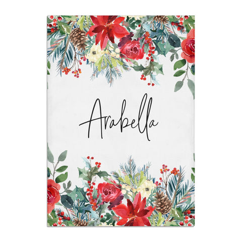Personalised Floral Winter Arrangement Tea Towel