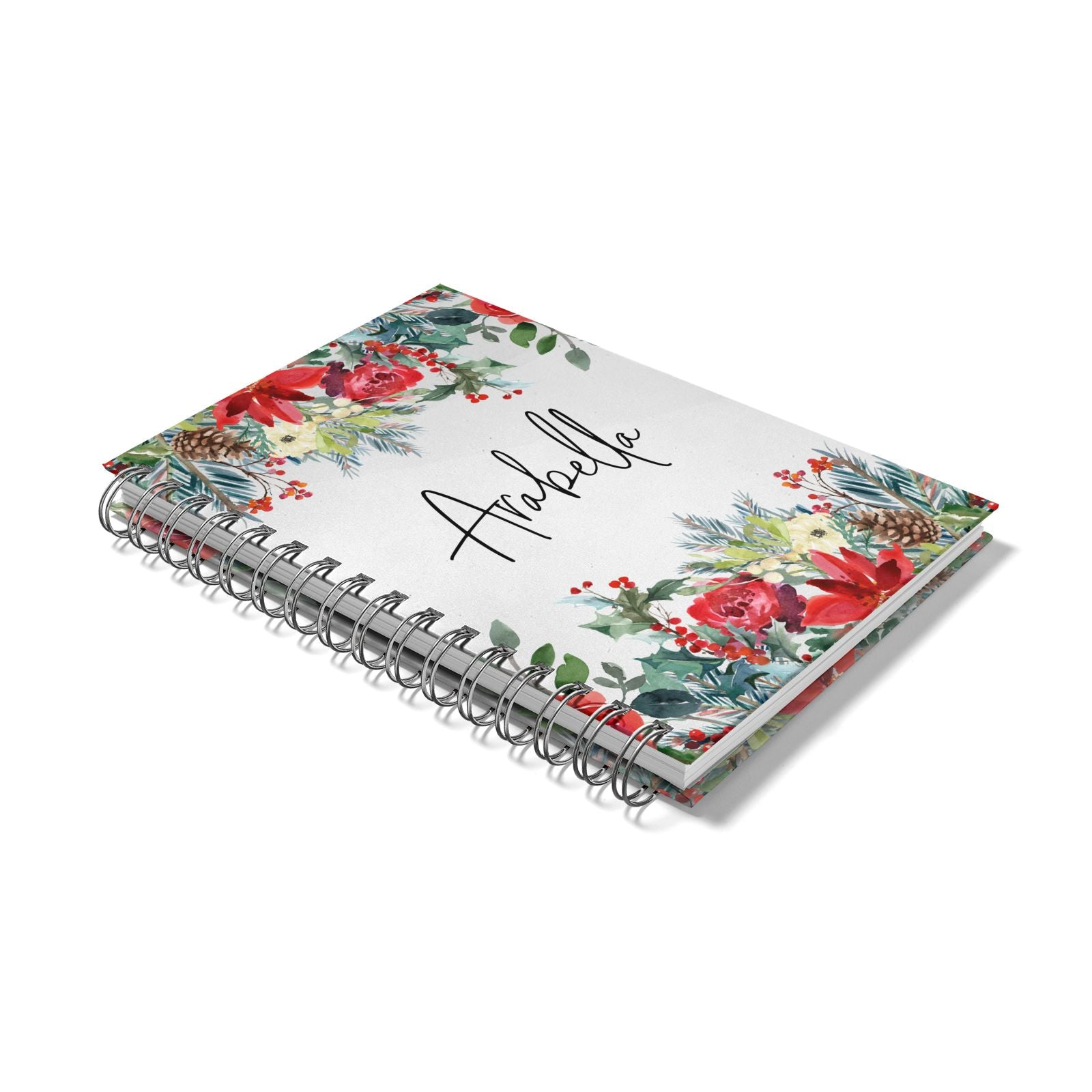 Personalised Floral Winter Arrangement Notebook with Silver Coil Laid Flat