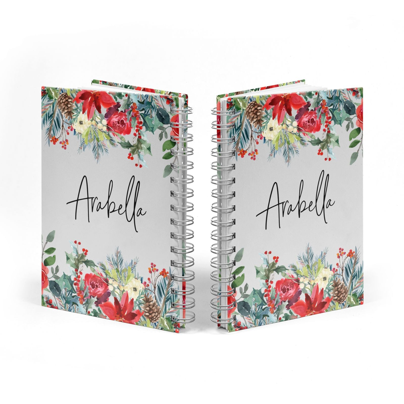 Personalised Floral Winter Arrangement Notebook with Silver Coil Spine View