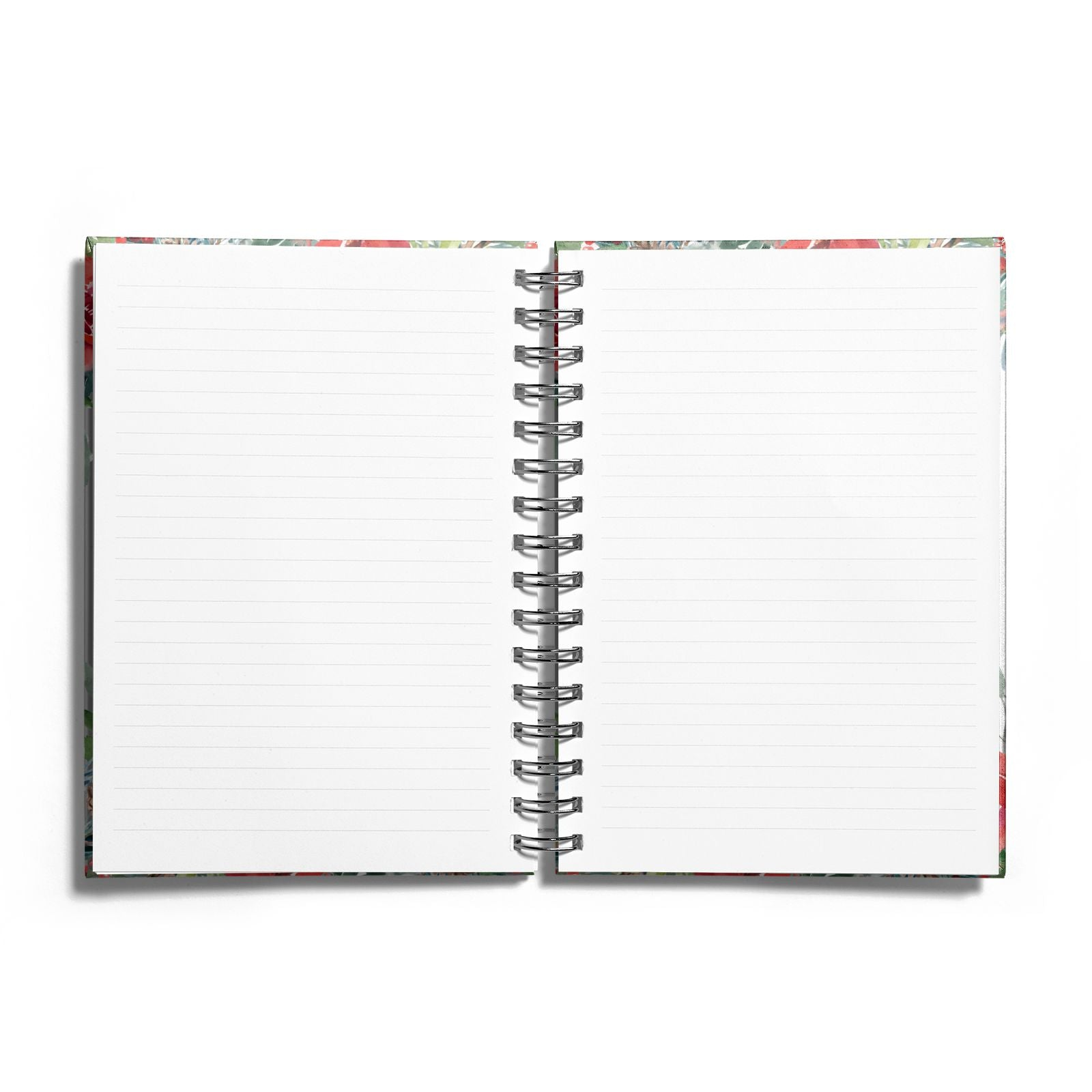 Personalised Floral Winter Arrangement Notebook with Silver Coil and Lined Paper