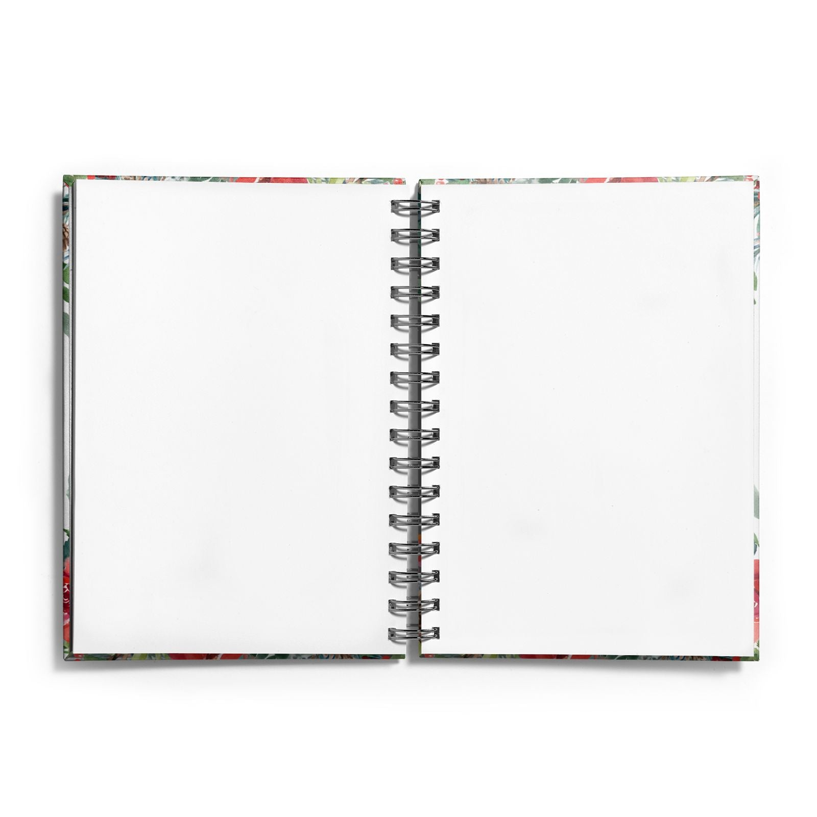 Personalised Floral Winter Arrangement Notebook with Silver Coil and Plain Paper