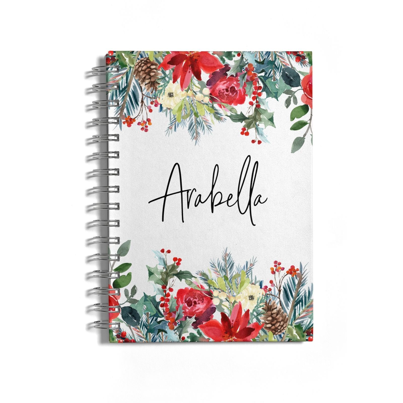 Personalised Floral Winter Arrangement Notebook with Silver Coil