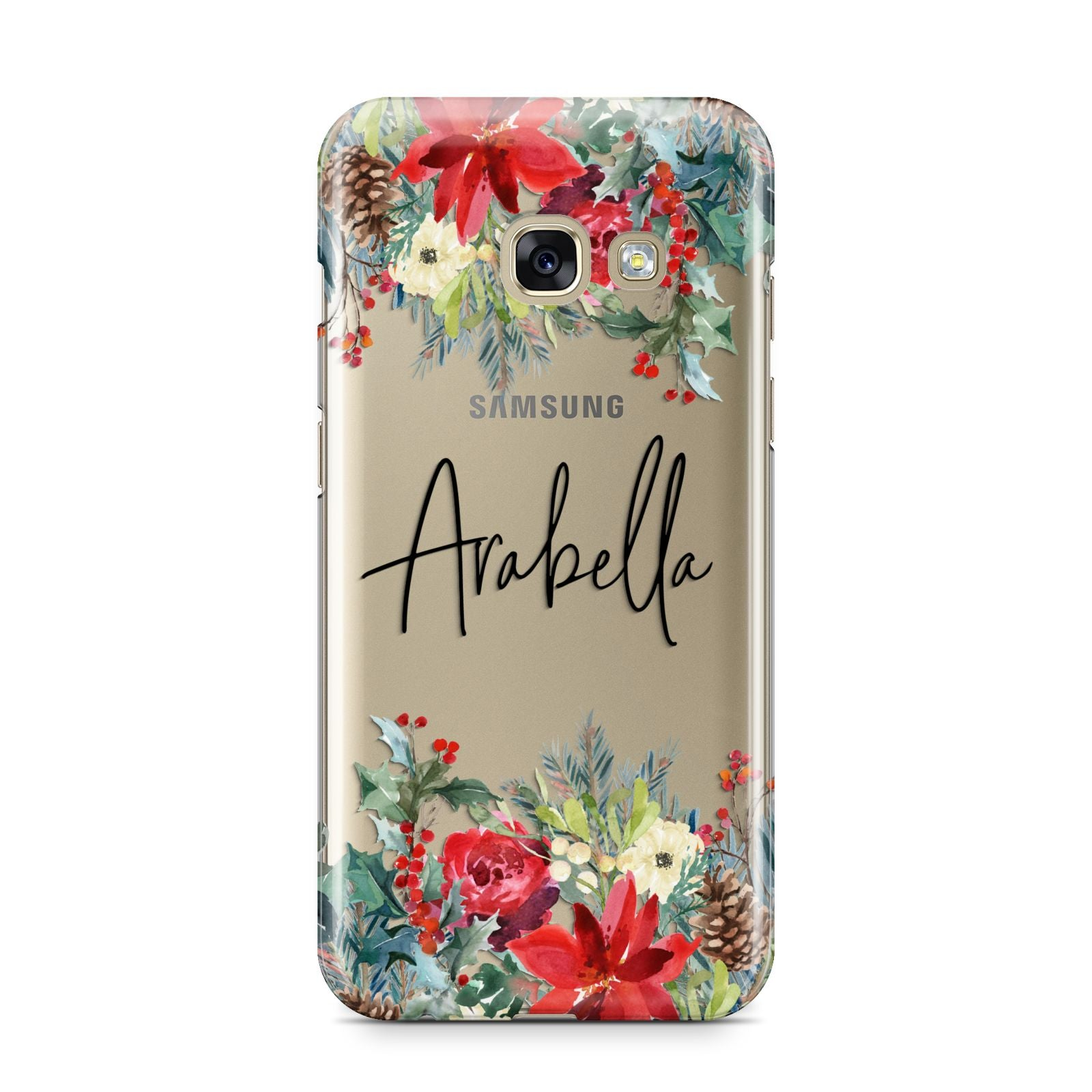 Personalised Floral Winter Arrangement Samsung Galaxy A3 2017 Case on gold phone