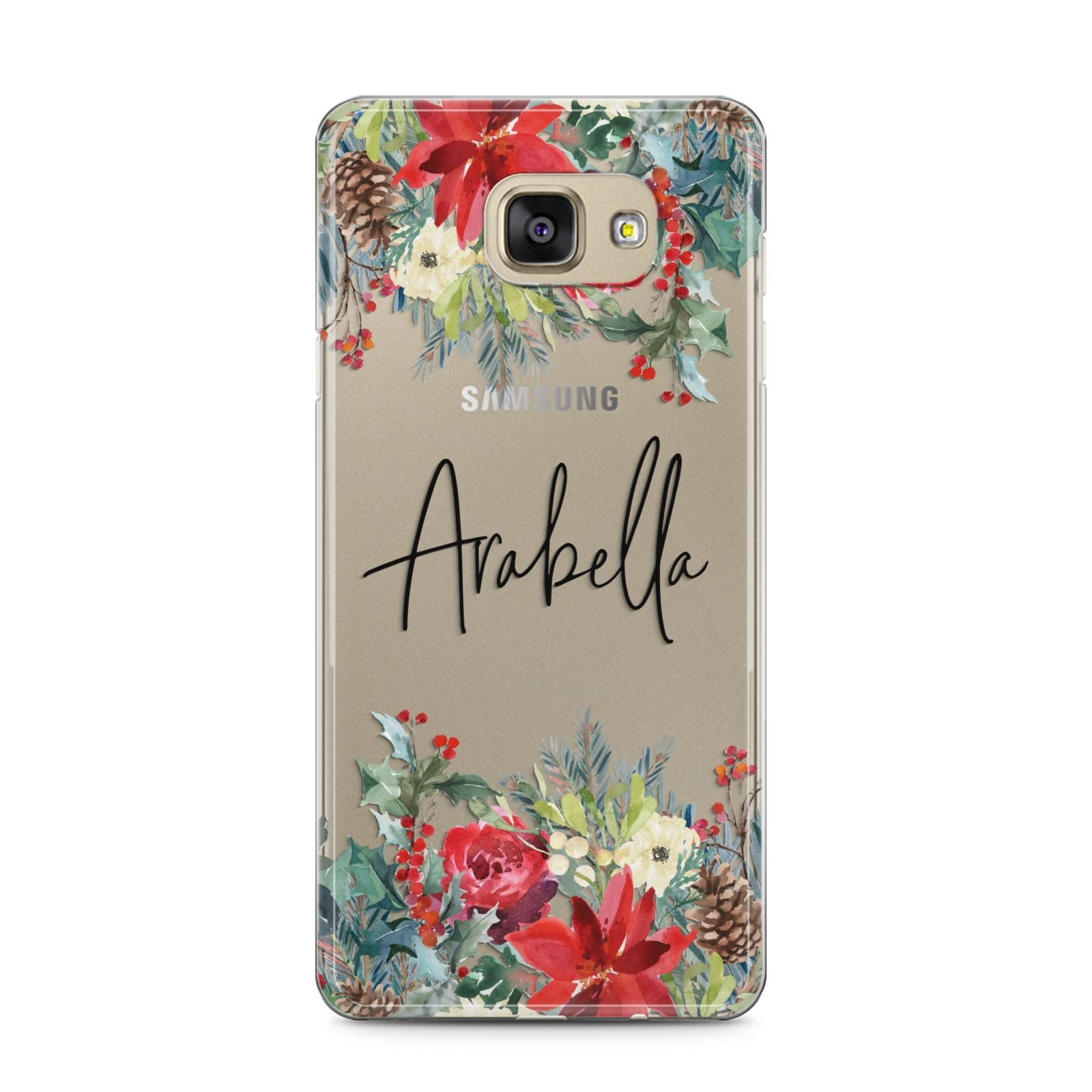 Personalised Floral Winter Arrangement Samsung Galaxy A5 2016 Case on gold phone