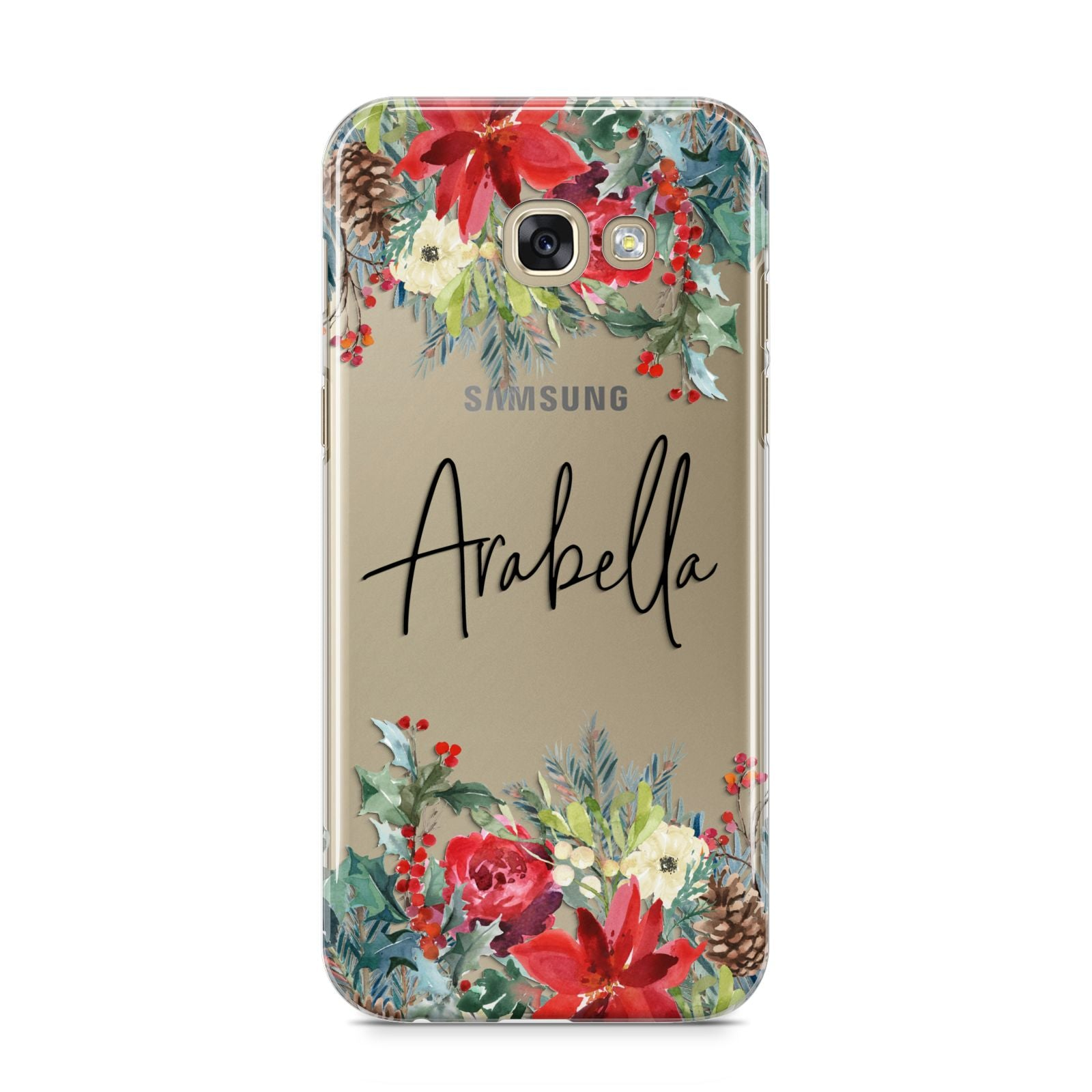 Personalised Floral Winter Arrangement Samsung Galaxy A5 2017 Case on gold phone