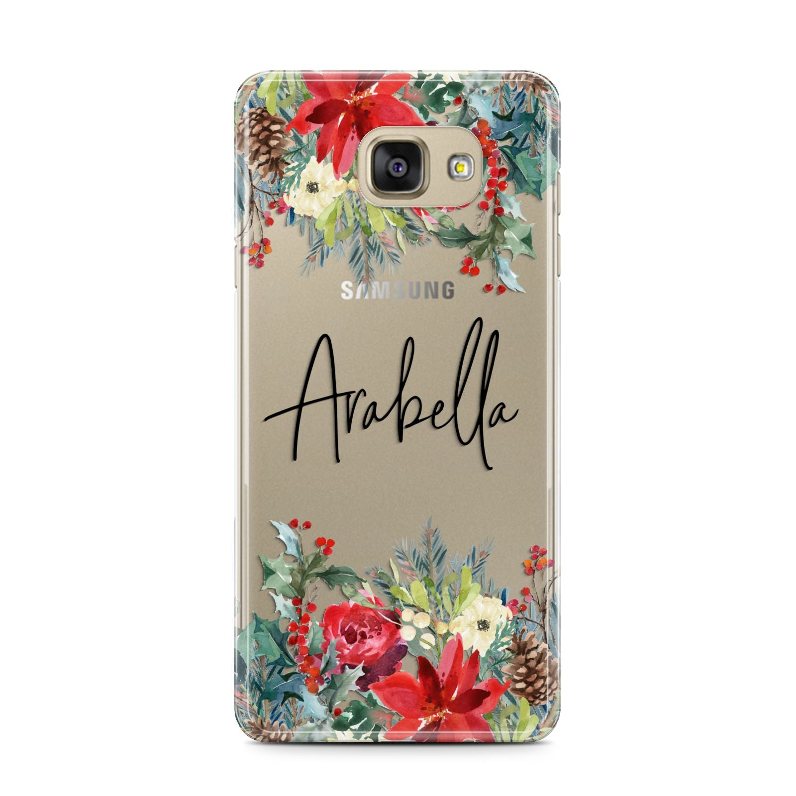 Personalised Floral Winter Arrangement Samsung Galaxy A7 2016 Case on gold phone