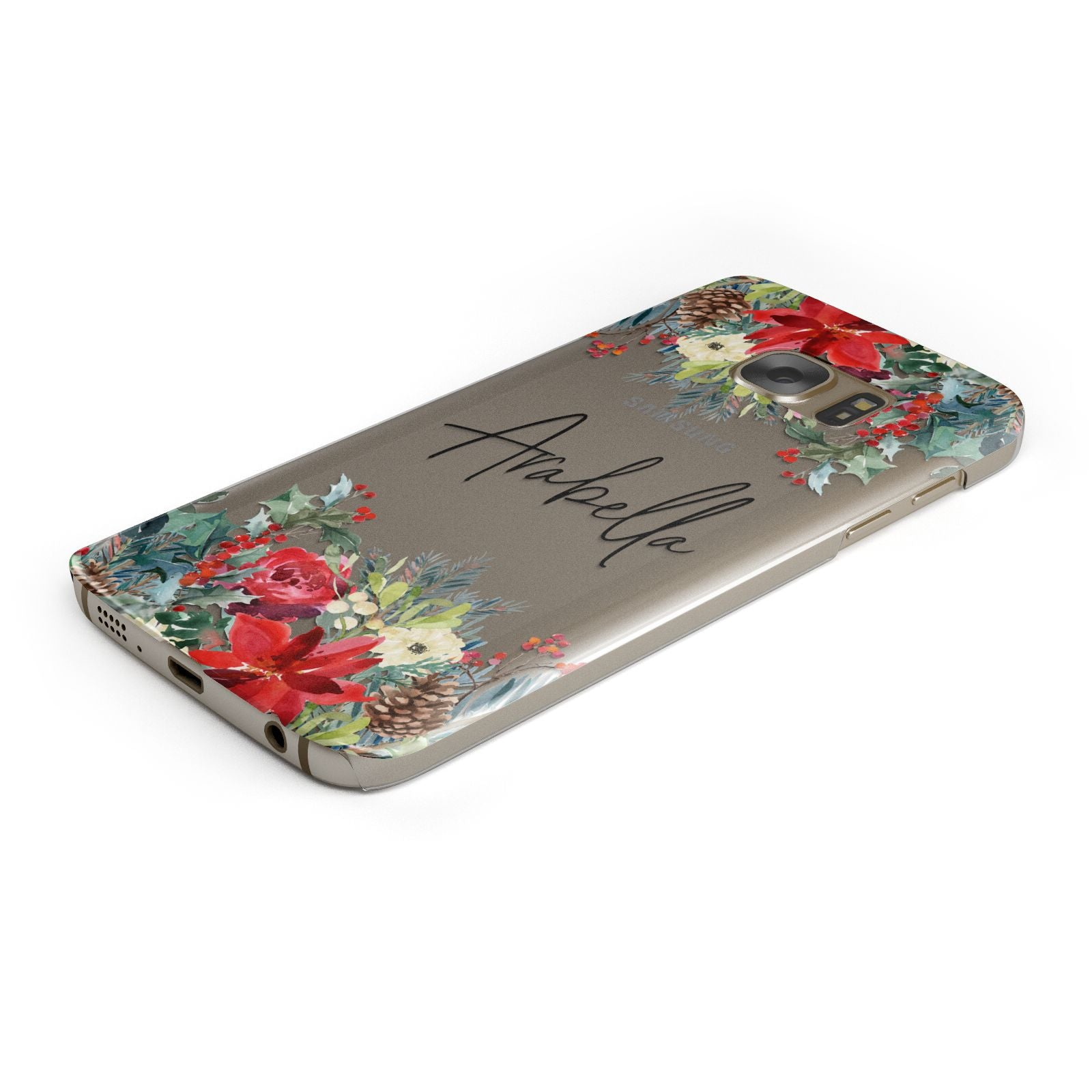 Personalised Floral Winter Arrangement Samsung Galaxy Case Bottom Cutout