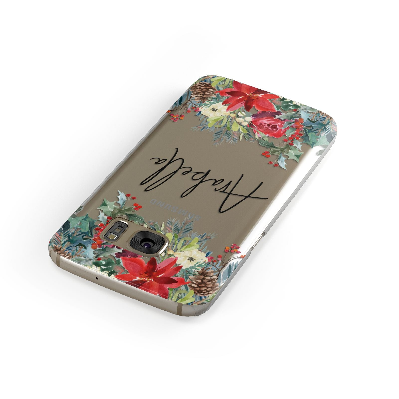 Personalised Floral Winter Arrangement Samsung Galaxy Case Front Close Up
