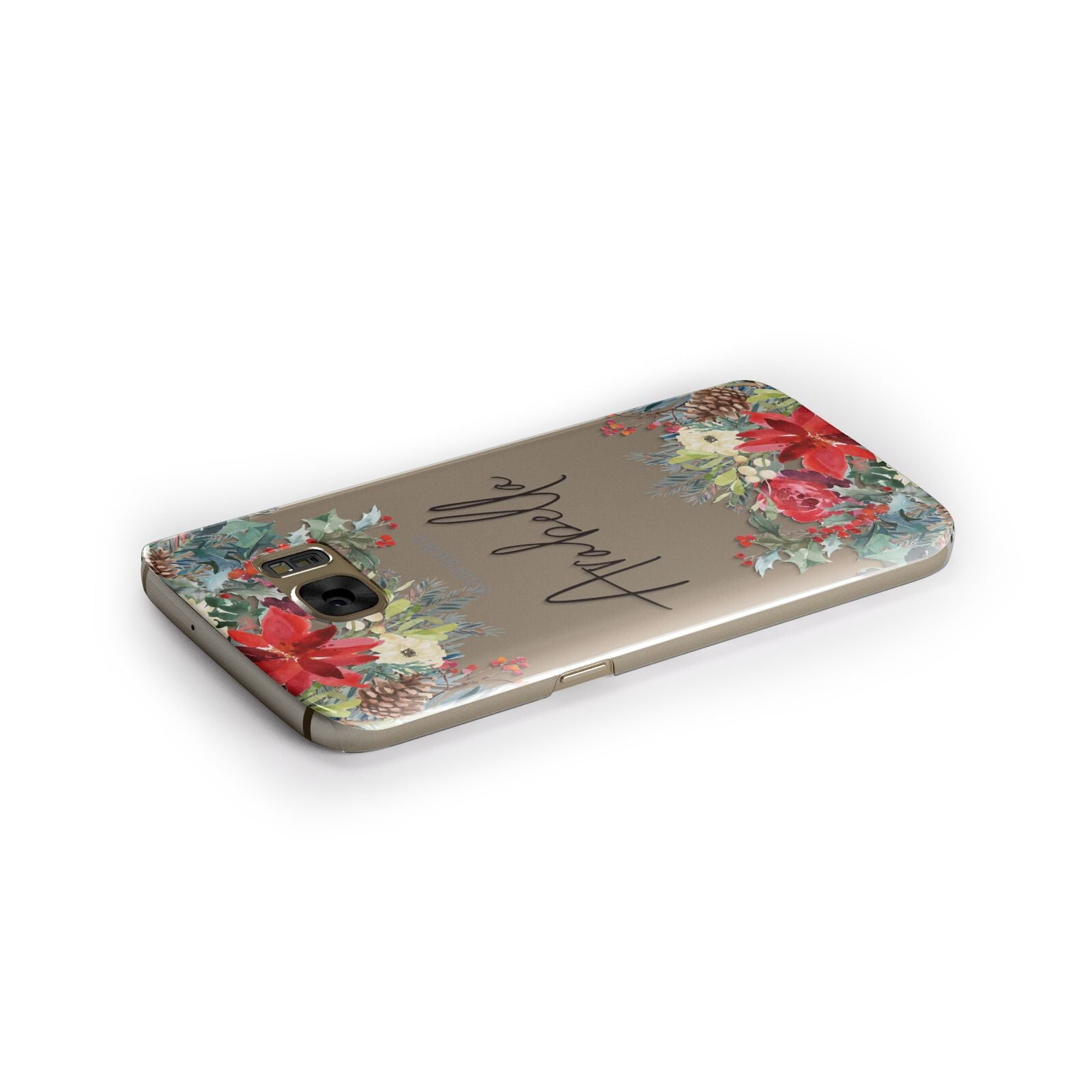 Personalised Floral Winter Arrangement Samsung Galaxy Case Side Close Up
