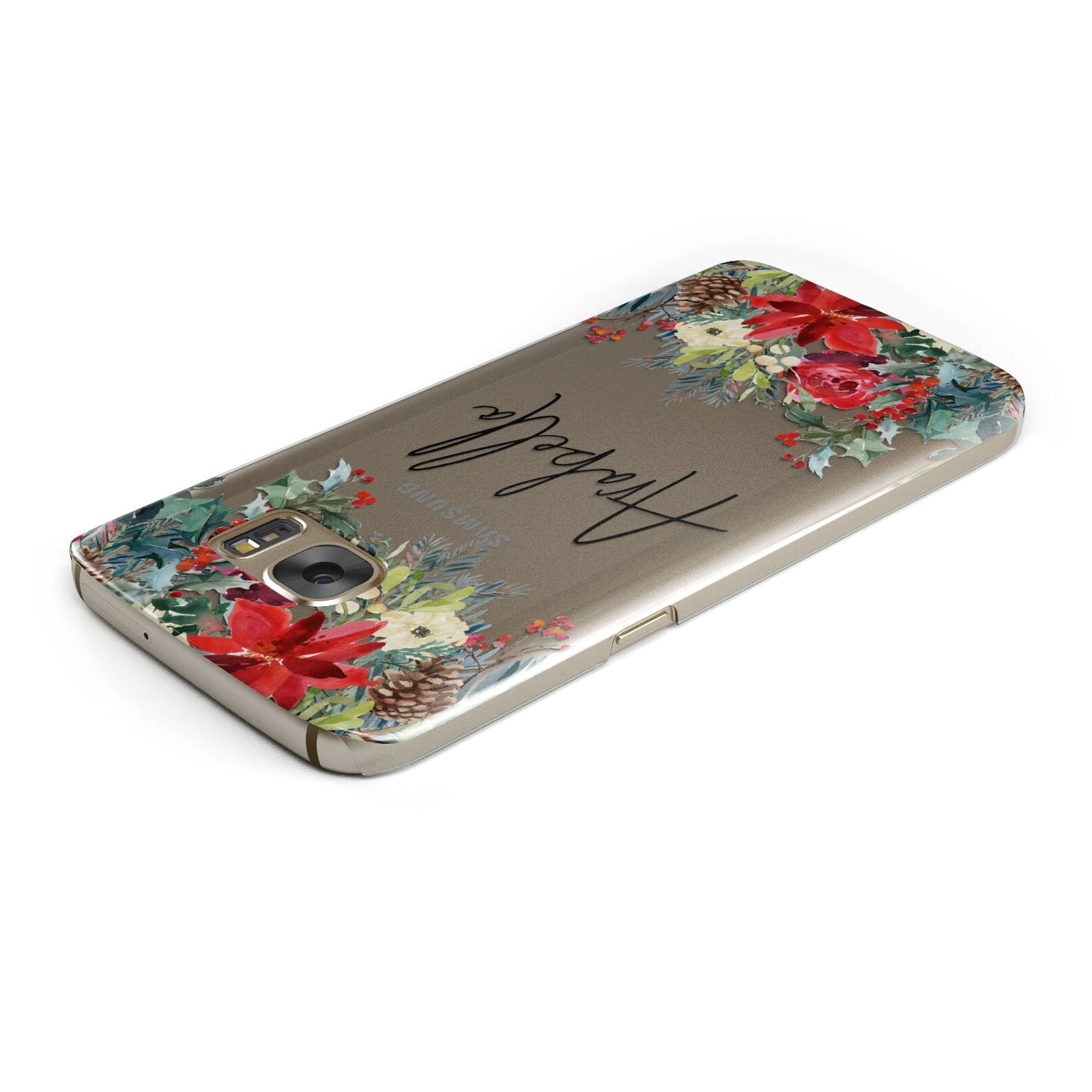 Personalised Floral Winter Arrangement Samsung Galaxy Case Top Cutout
