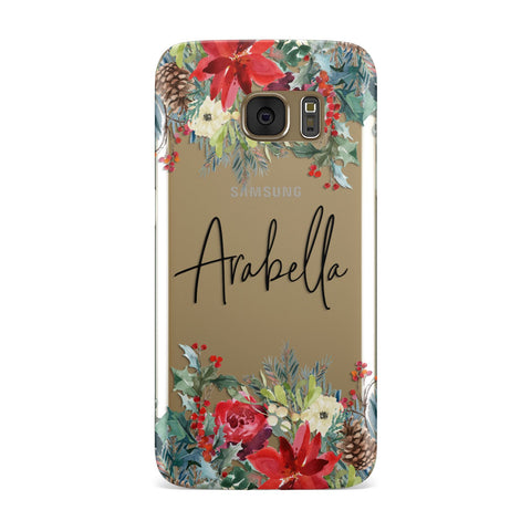 Personalised Floral Winter Arrangement Samsung Galaxy Case
