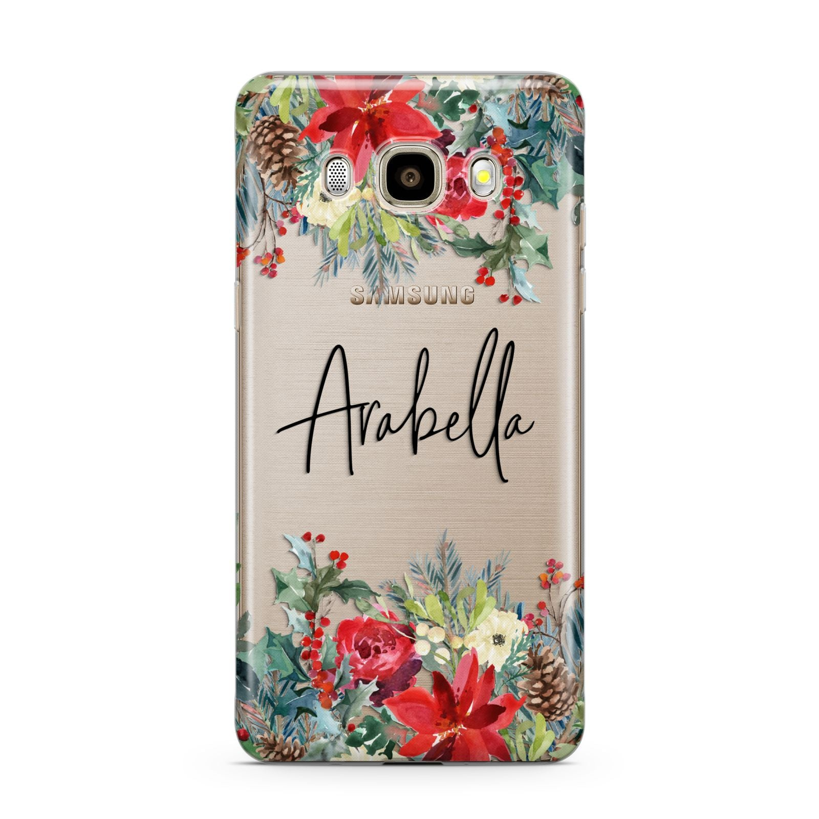 Personalised Floral Winter Arrangement Samsung Galaxy J7 2016 Case on gold phone