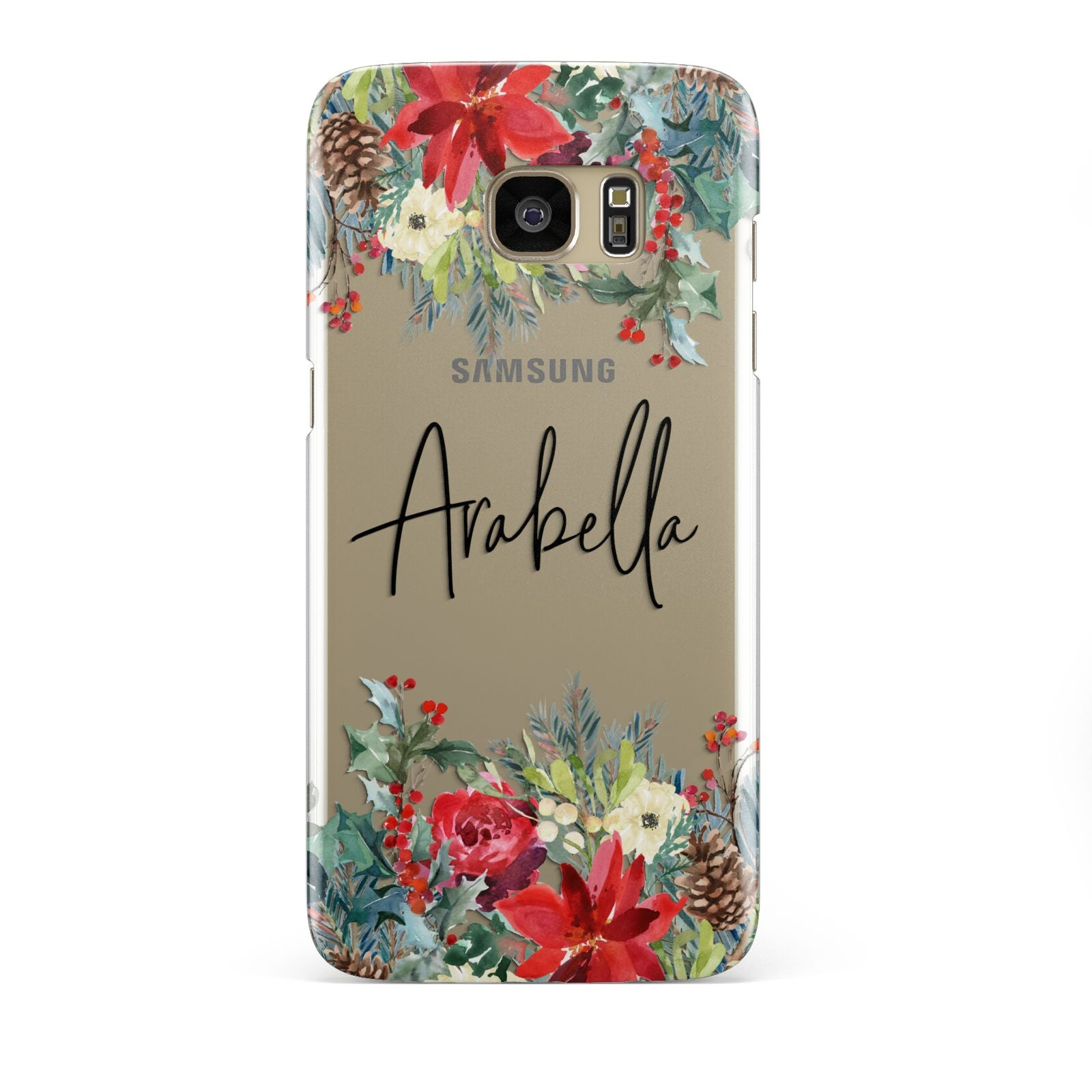Personalised Floral Winter Arrangement Samsung Galaxy S7 Edge Case