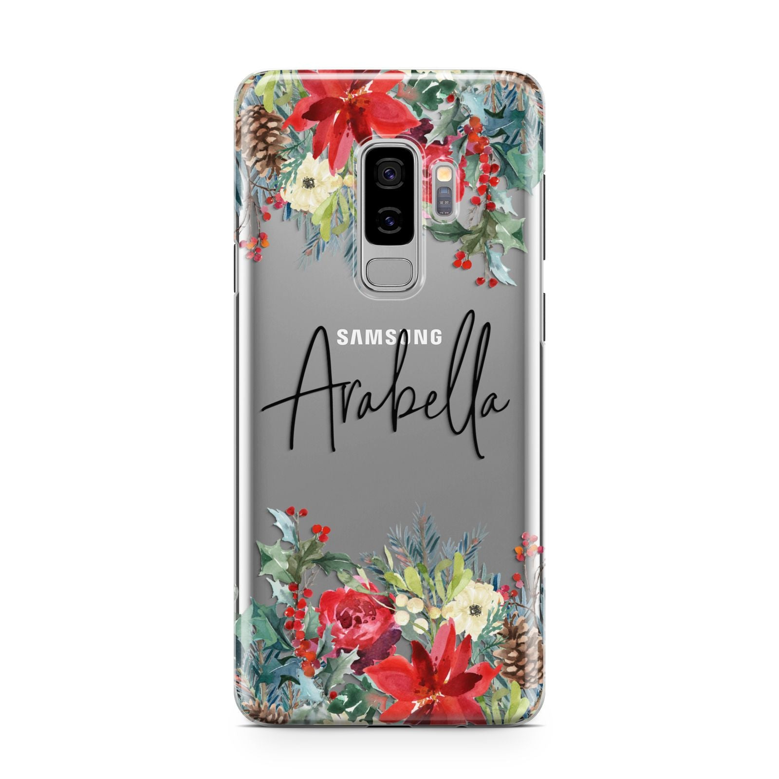 Personalised Floral Winter Arrangement Samsung Galaxy S9 Plus Case on Silver phone