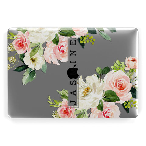 Personalised Floral Wreath with Name Macbook Case