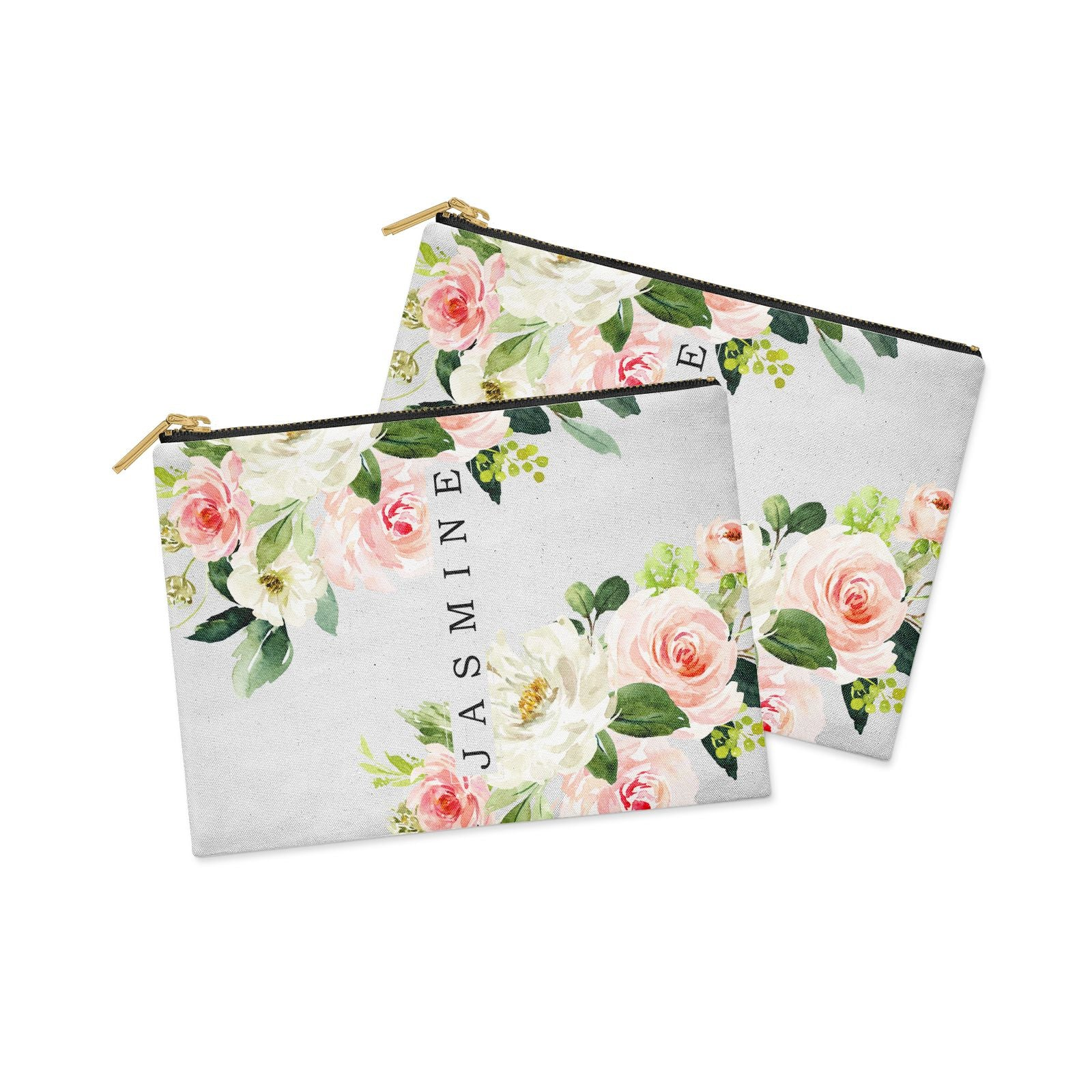 Personalised Floral Wreath with Name Clutch Bag Zipper Pouch Alternative View
