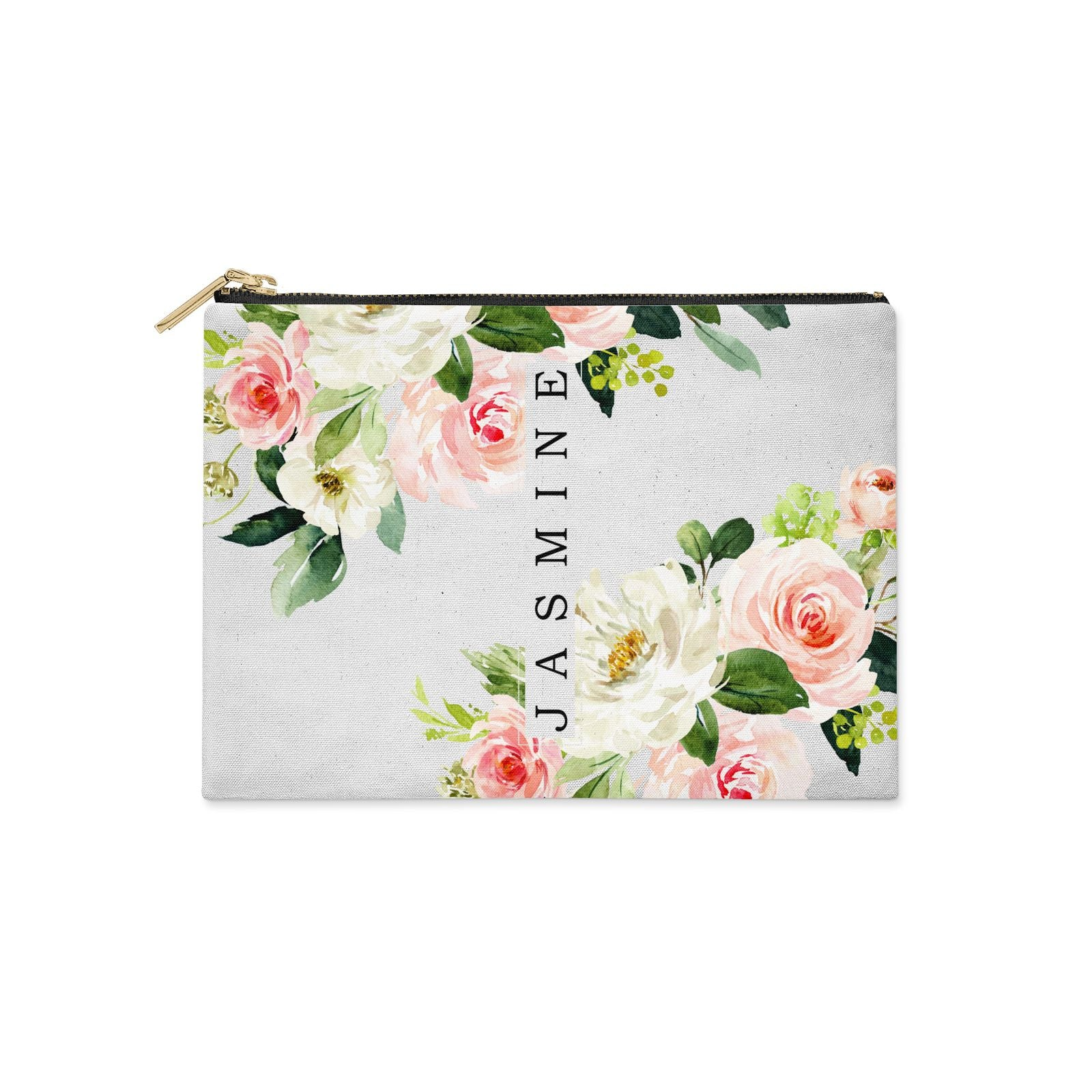 Personalised Floral Wreath with Name Clutch Bag Zipper Pouch